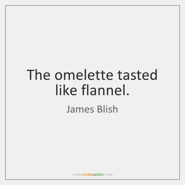 The omelette tasted like flannel.