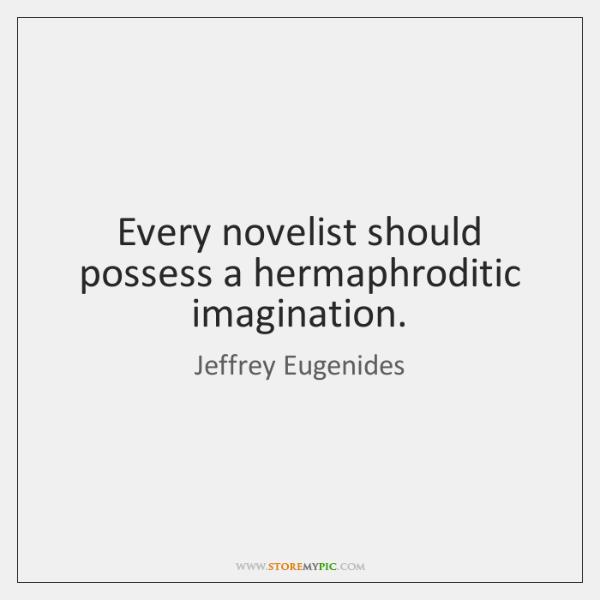 Every novelist should possess a hermaphroditic imagination.