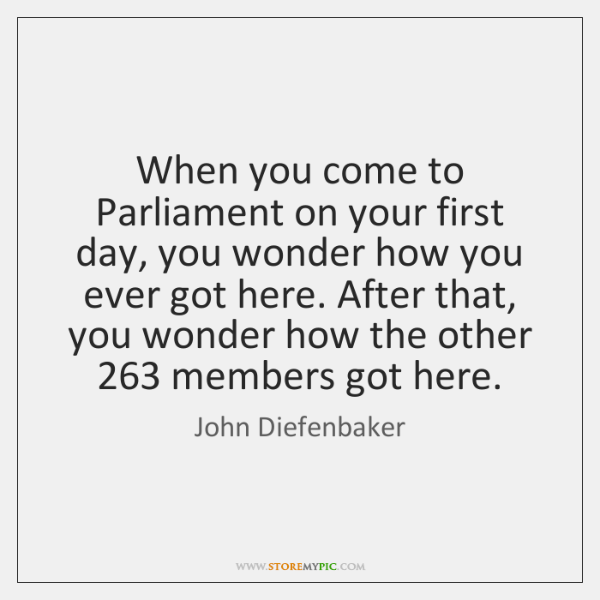 When you come to Parliament on your first day, you wonder how ...