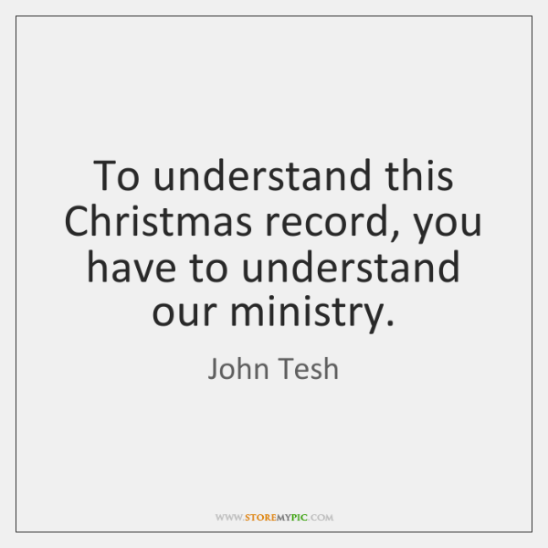 To understand this Christmas record, you have to understand our ministry.