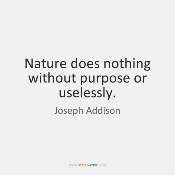 Nature does nothing without purpose or uselessly.