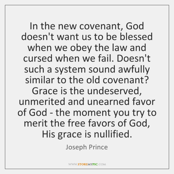 In the new covenant, God doesn't want us to be blessed when ...