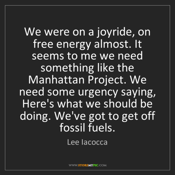 Lee Iacocca: We were on a joyride, on free energy almost. It seems...