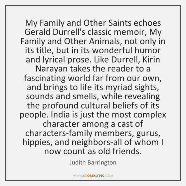 My Family and Other Saints echoes Gerald Durrell's classic memoir, My Family ...