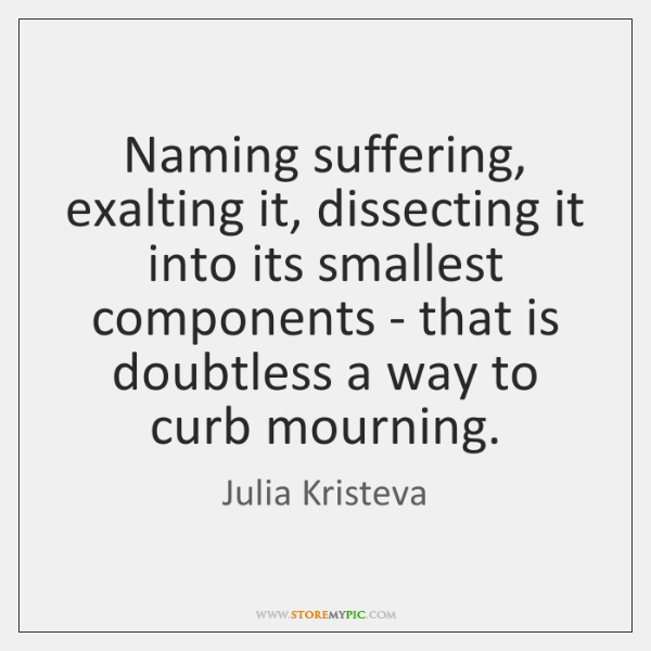 Naming suffering, exalting it, dissecting it into its smallest components - that ...