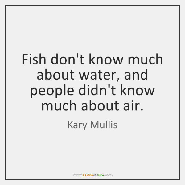 Fish don't know much about water, and people didn't know much about ...