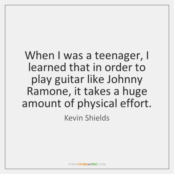 When I was a teenager, I learned that in order to play ...