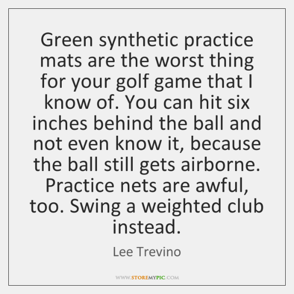 Green synthetic practice mats are the worst thing for your golf game ...