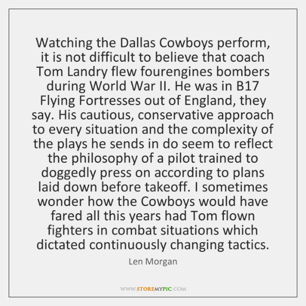Watching the Dallas Cowboys perform, it is not difficult to believe that ...