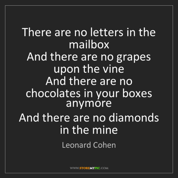 Leonard Cohen: There are no letters in the mailbox  And there are no...