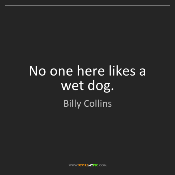 Billy Collins: No one here likes a wet dog.