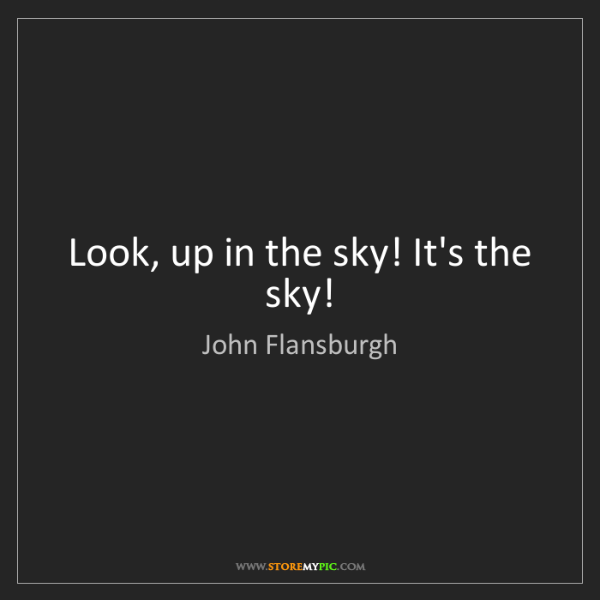 John Flansburgh: Look, up in the sky! It's the sky!