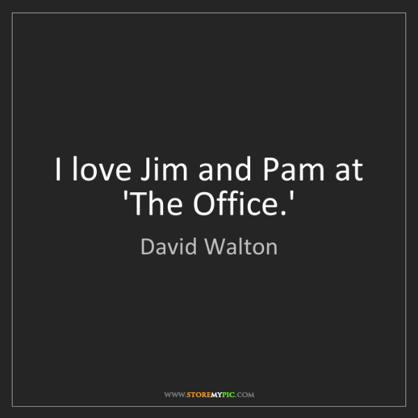 David Walton: I love Jim and Pam at 'The Office.'