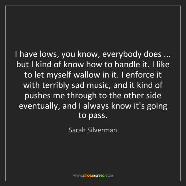 Sarah Silverman: I have lows, you know, everybody does ... but I kind...