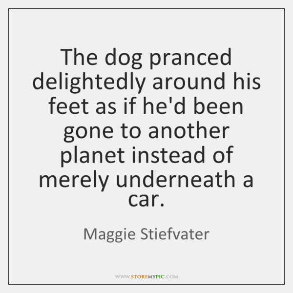 The dog pranced delightedly around his feet as if he'd been gone ...