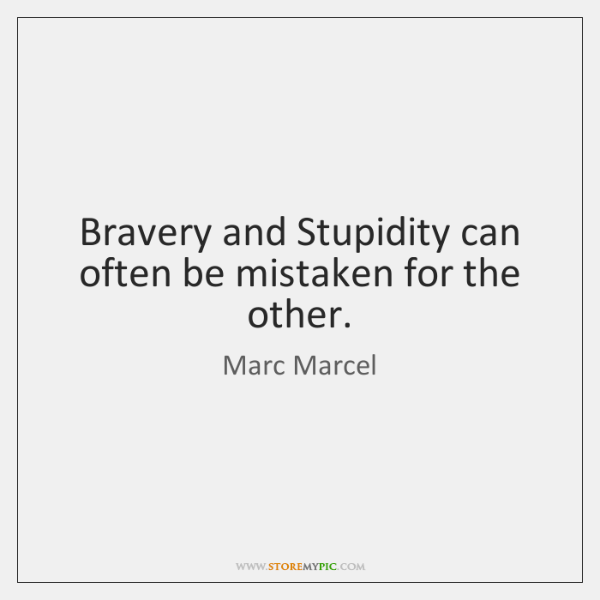 Bravery and Stupidity can often be mistaken for the other.