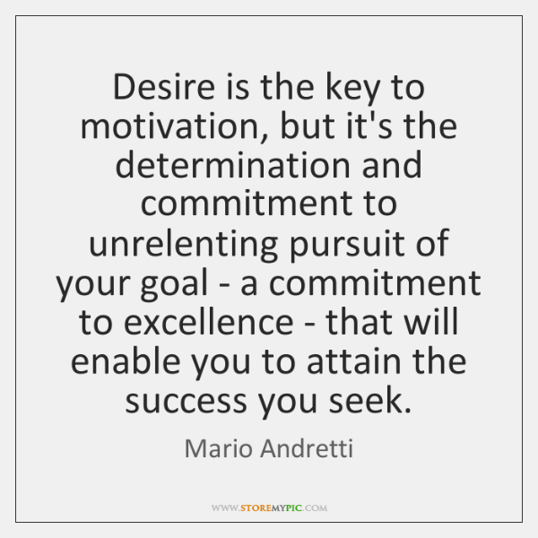 Desire is the key to motivation, but it's the determination and commitment ...