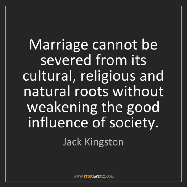 Jack Kingston: Marriage cannot be severed from its cultural, religious...