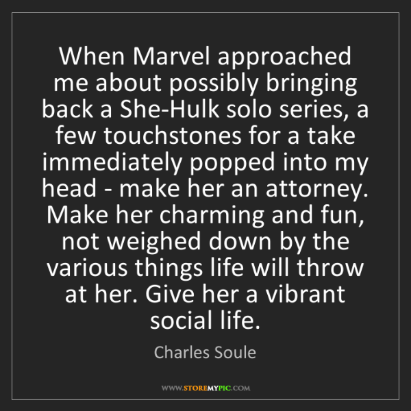 Charles Soule: When Marvel approached me about possibly bringing back...