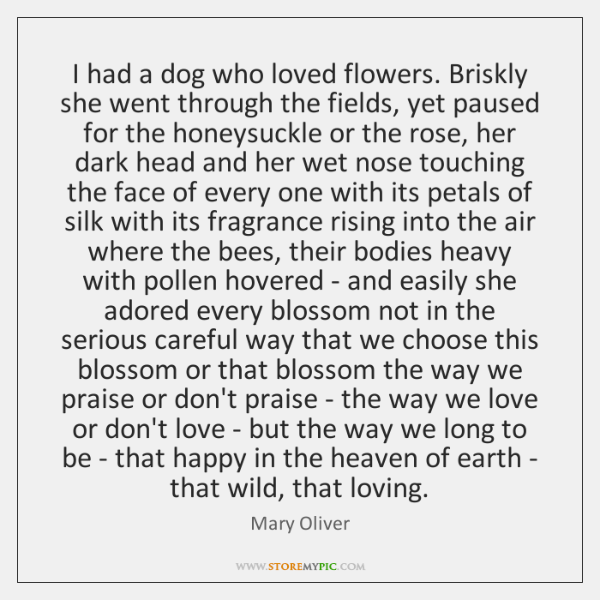 I had a dog who loved flowers. Briskly she went through the ...