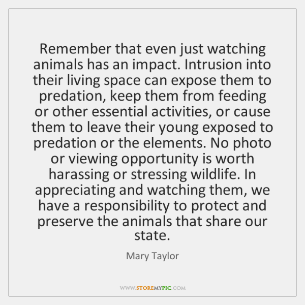 Remember that even just watching animals has an impact. Intrusion into their ...