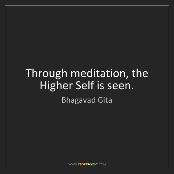 Bhagavad Gita: Through meditation, the Higher Self is seen.