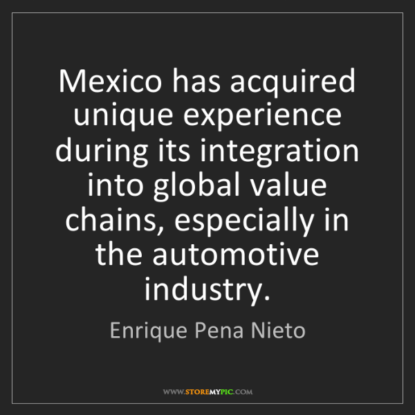Enrique Pena Nieto: Mexico has acquired unique experience during its integration...