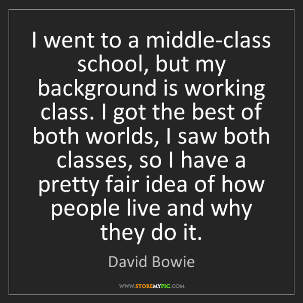 David Bowie: I went to a middle-class school, but my background is...