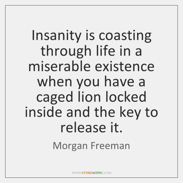 Insanity is coasting through life in a miserable existence when you have ...