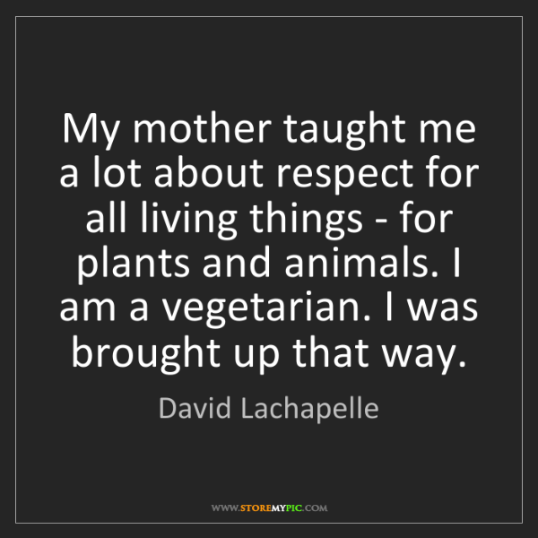 David Lachapelle: My mother taught me a lot about respect for all living...