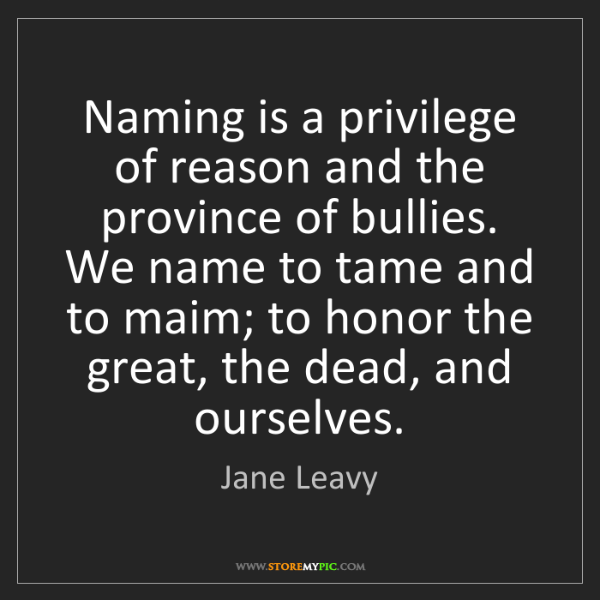 Jane Leavy: Naming is a privilege of reason and the province of bullies....