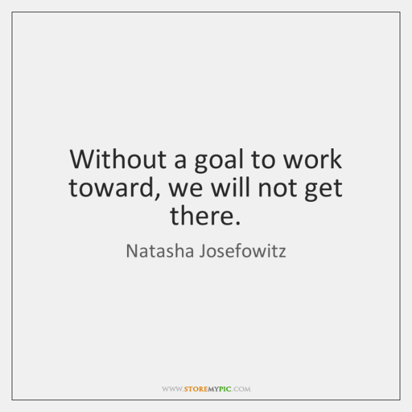 Without a goal to work toward, we will not get there.