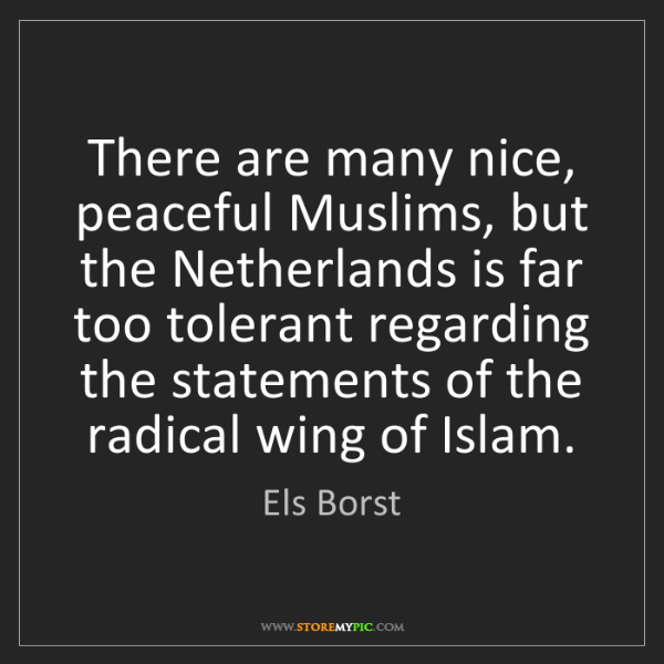 Els Borst: There are many nice, peaceful Muslims, but the Netherlands...