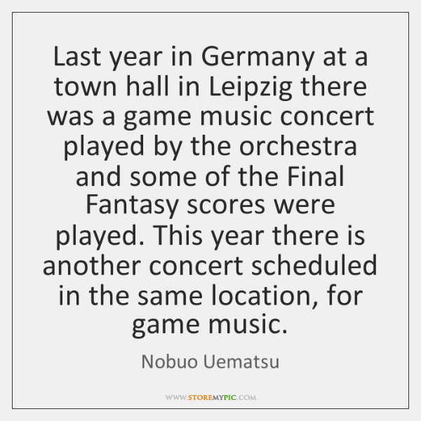Last year in Germany at a town hall in Leipzig there was ...