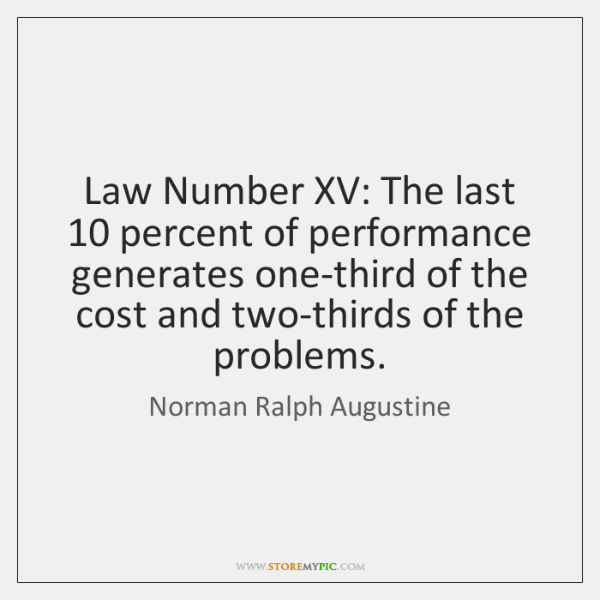 Law Number XV: The last 10 percent of performance generates one-third of the ...
