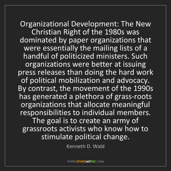 Kenneth D. Wald: Organizational Development: The New Christian Right of...