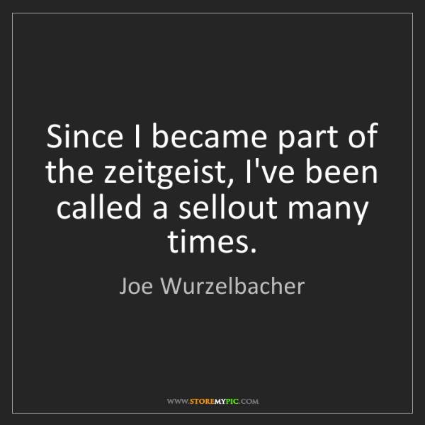 Joe Wurzelbacher: Since I became part of the zeitgeist, I've been called...