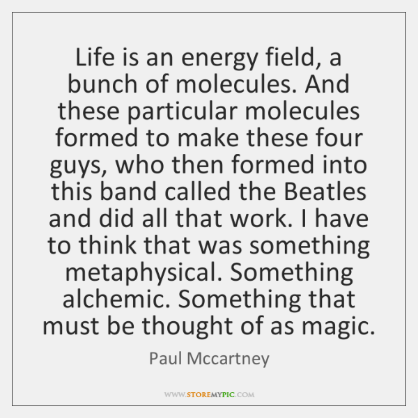 Life is an energy field, a bunch of molecules. And these particular ...