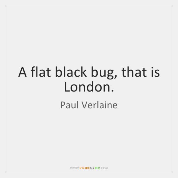 A flat black bug, that is London.
