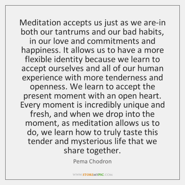 Meditation accepts us just as we are-in both our tantrums and our ...