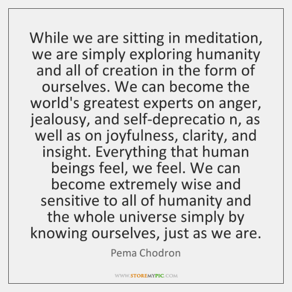 While we are sitting in meditation, we are simply exploring humanity and ...