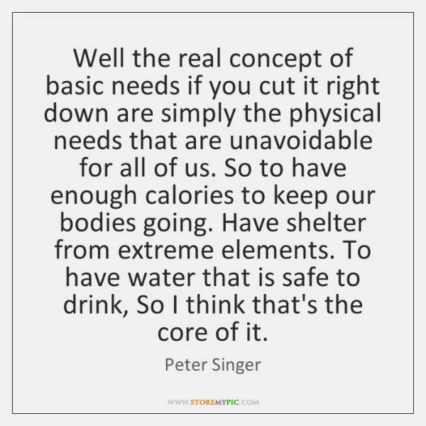 Well the real concept of basic needs if you cut it right ...