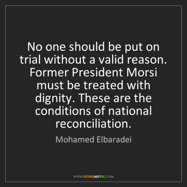 Mohamed Elbaradei: No one should be put on trial without a valid reason....