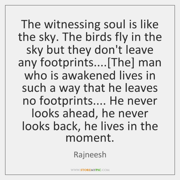 The witnessing soul is like the sky. The birds fly in the ...