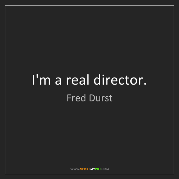 Fred Durst: I'm a real director.