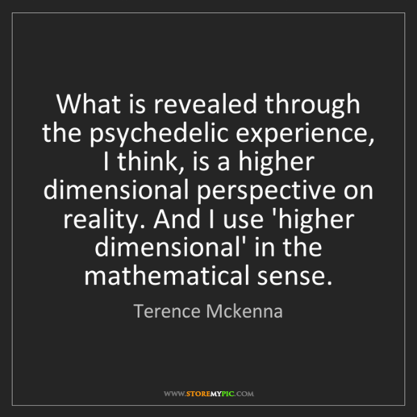 Terence Mckenna: What is revealed through the psychedelic experience,...