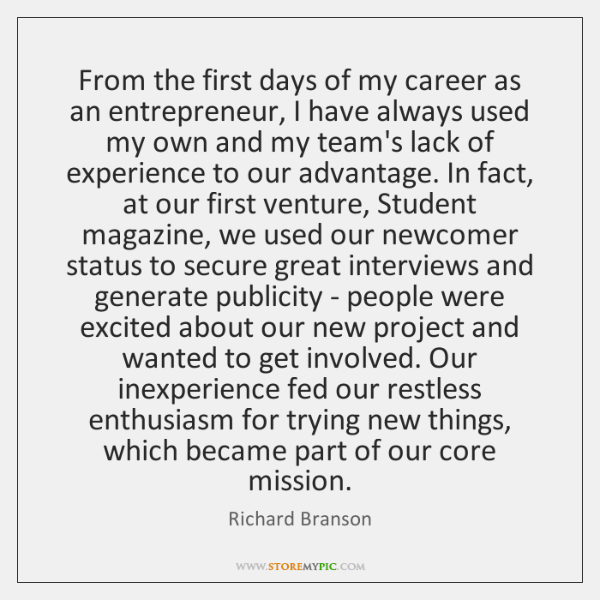 From the first days of my career as an entrepreneur, I have ...