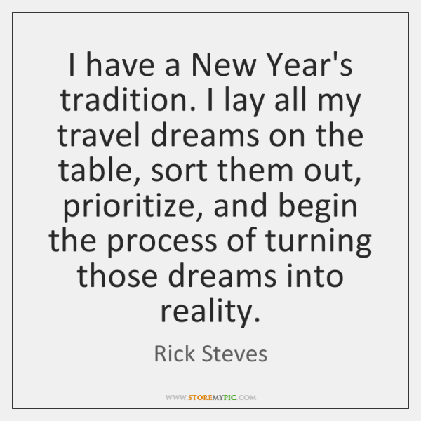 I have a New Year's tradition. I lay all my travel dreams ...