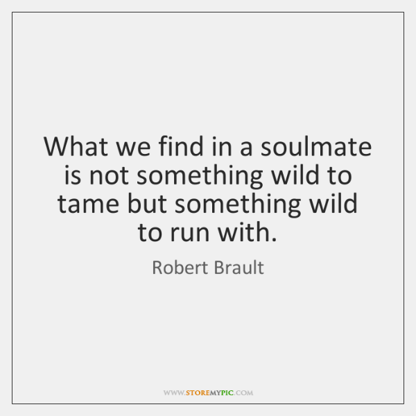 What we find in a soulmate is not something wild to tame ...