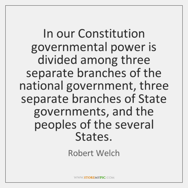 In our Constitution governmental power is divided among three separate branches of ...
